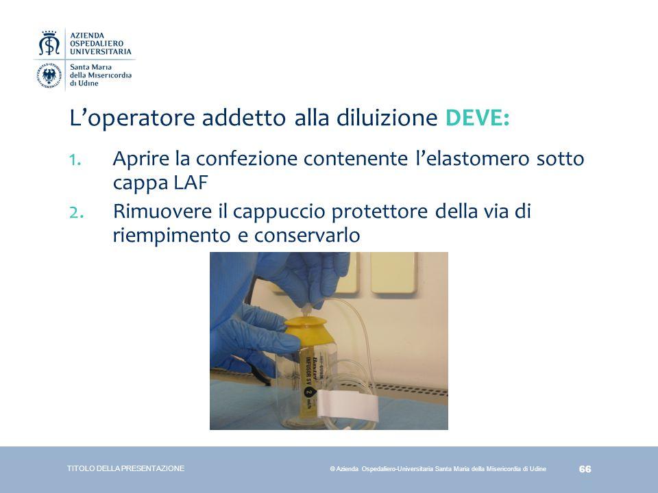 66 © Azienda Ospedaliero-Universitaria Santa Maria della Misericordia di Udine L'operatore addetto alla diluizione DEVE: 1.Aprire la confezione conten