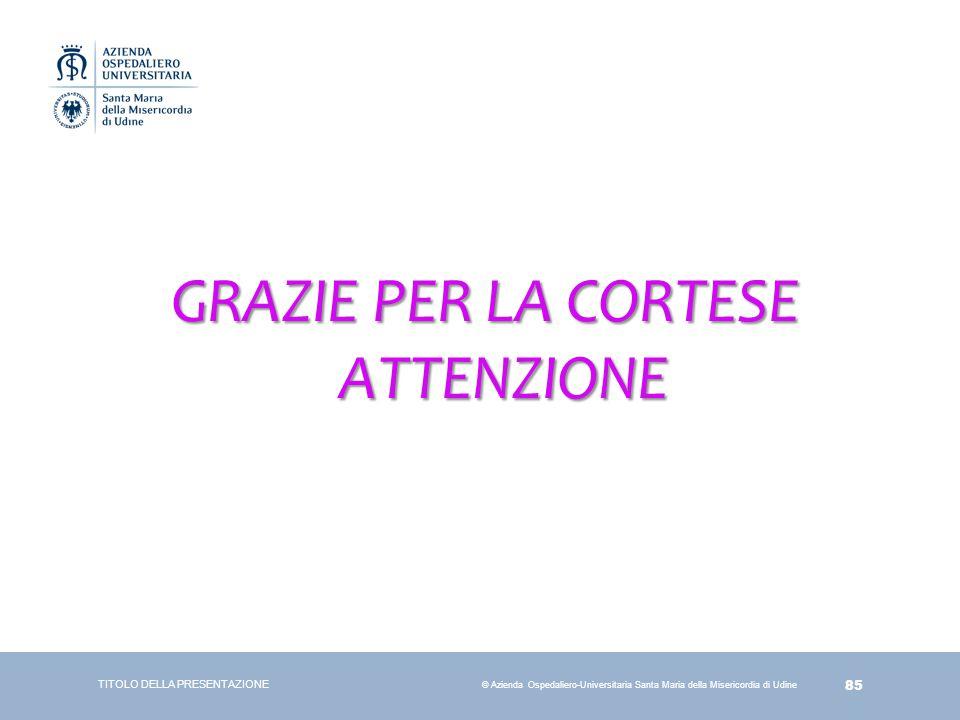 85 © Azienda Ospedaliero-Universitaria Santa Maria della Misericordia di Udine GRAZIE PER LA CORTESE ATTENZIONE TITOLO DELLA PRESENTAZIONE