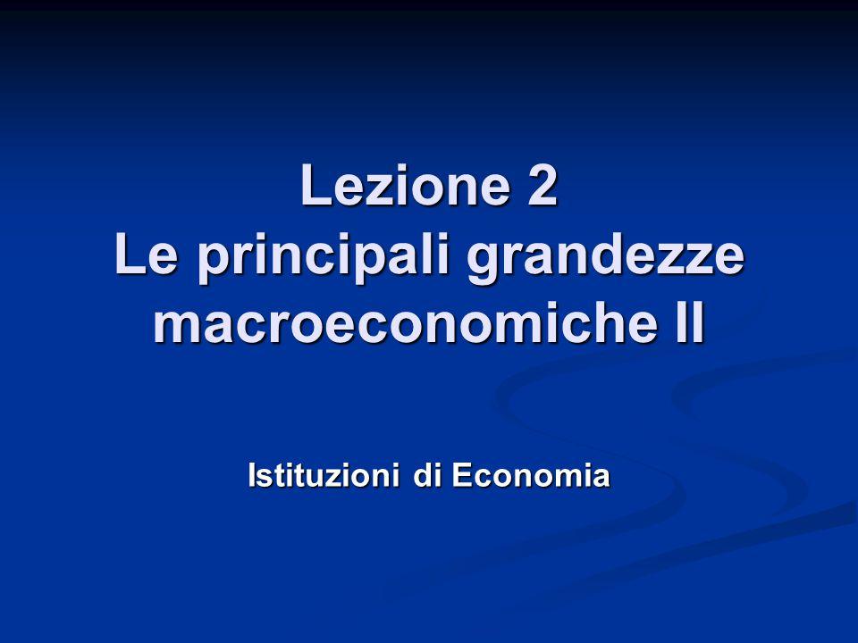 Inflazione Nel nostro esempio abbiamo Nel nostro esempio abbiamo  n = 5,06%  g = 3%   = 2% Utilizzando la formula approssimata  Utilizzando la formula approssimata    n - g = 5,06% - 3% = 2,06%  2%   n - g = 5,06% - 3% = 2,06%  2% Il deflattore del Pil considera i prezzi di tutti i beni finali prodotti nell'economia Il deflattore del Pil considera i prezzi di tutti i beni finali prodotti nell'economia In molti casi interessa maggiormente l'aumento dei prezzi dei beni acquistati dai consumatori In molti casi interessa maggiormente l'aumento dei prezzi dei beni acquistati dai consumatori