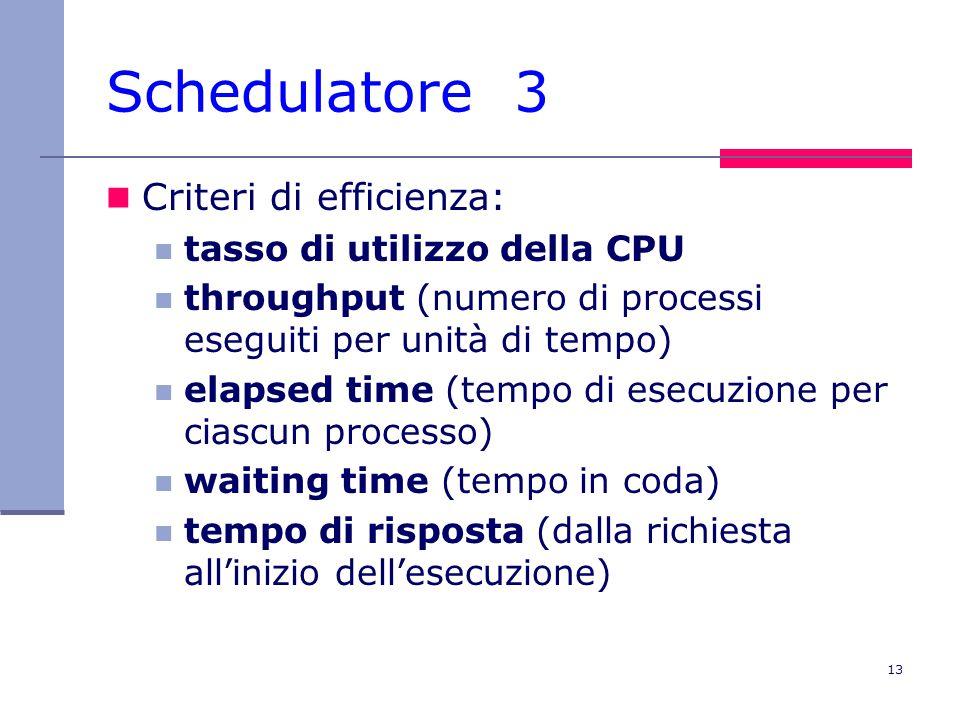 13 Schedulatore 3 Criteri di efficienza: tasso di utilizzo della CPU throughput (numero di processi eseguiti per unità di tempo) elapsed time (tempo d