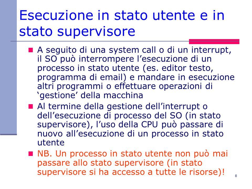 8 Esecuzione in stato utente e in stato supervisore A seguito di una system call o di un interrupt, il SO può interrompere l'esecuzione di un processo