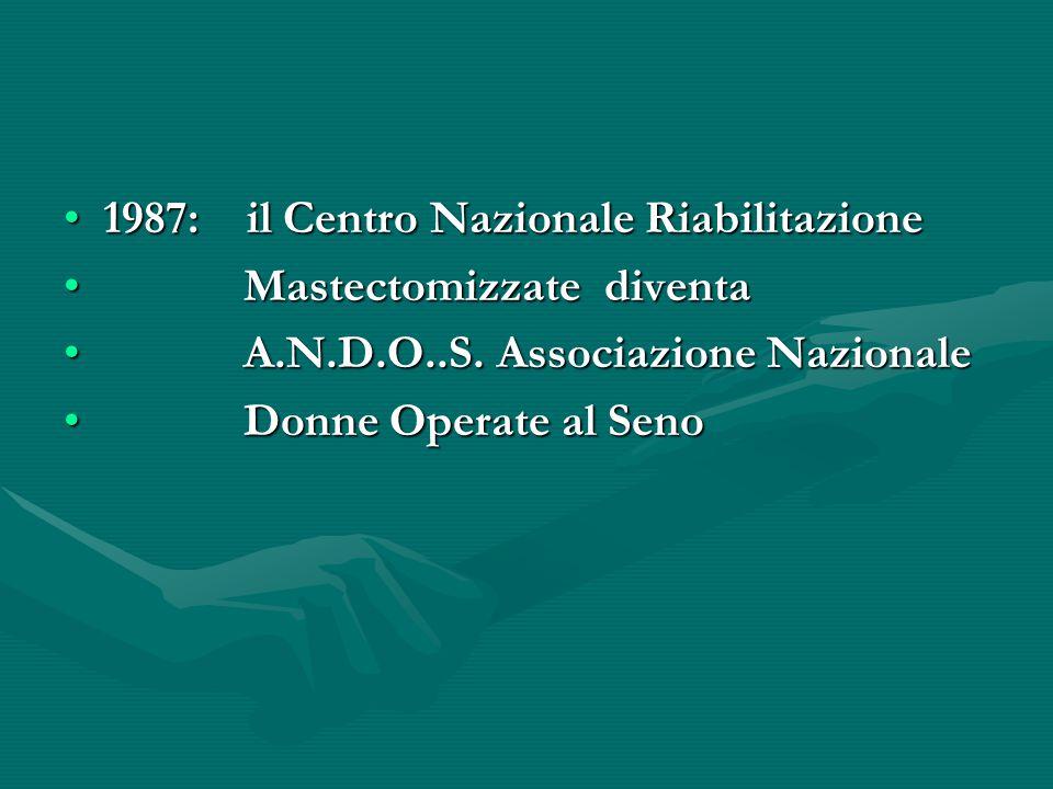 1987: il Centro Nazionale Riabilitazione1987: il Centro Nazionale Riabilitazione Mastectomizzate diventa Mastectomizzate diventa A.N.D.O..S. Associazi