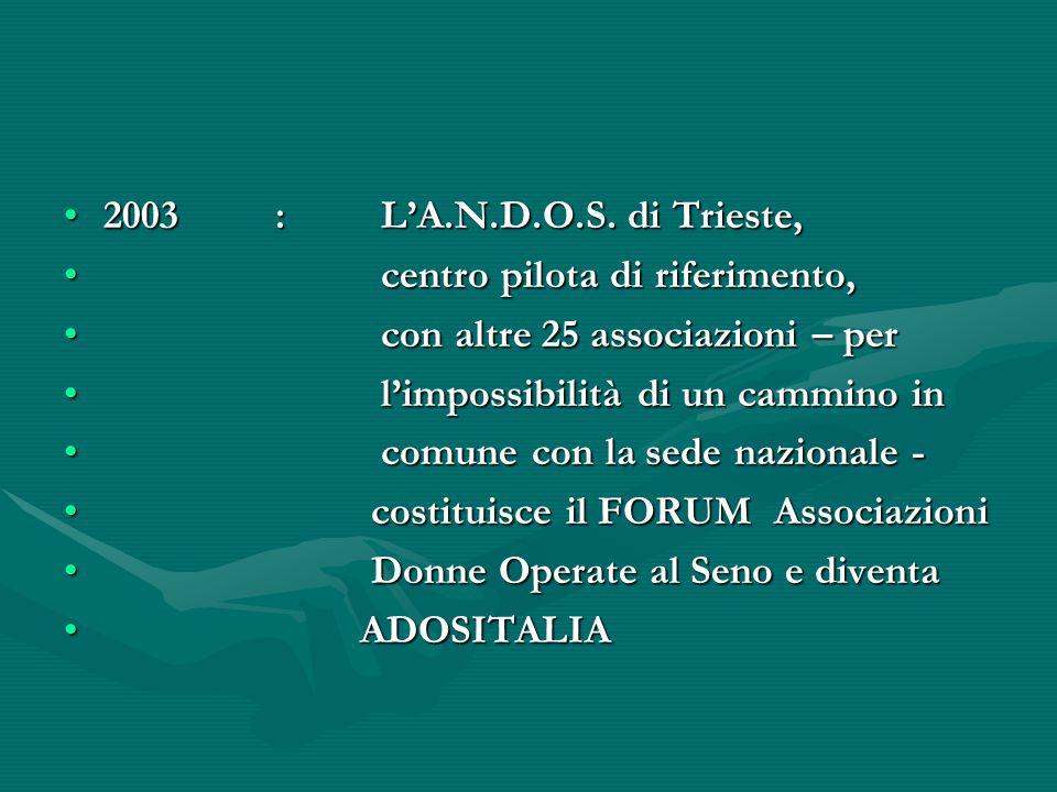 2003:L'A.N.D.O.S. di Trieste,2003:L'A.N.D.O.S. di Trieste, centro pilota di riferimento, centro pilota di riferimento, con altre 25 associazioni – per