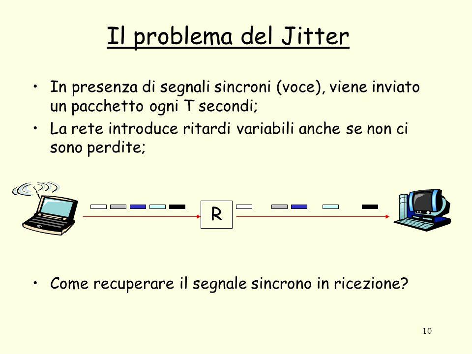 10 Il problema del Jitter In presenza di segnali sincroni (voce), viene inviato un pacchetto ogni T secondi; La rete introduce ritardi variabili anche