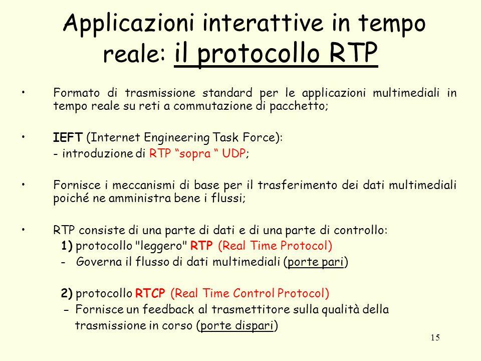 15 Applicazioni interattive in tempo reale: il protocollo RTP Formato di trasmissione standard per le applicazioni multimediali in tempo reale su reti a commutazione di pacchetto; IEFT (Internet Engineering Task Force): - introduzione di RTP sopra UDP; Fornisce i meccanismi di base per il trasferimento dei dati multimediali poiché ne amministra bene i flussi; RTP consiste di una parte di dati e di una parte di controllo: 1) protocollo leggero RTP (Real Time Protocol) - Governa il flusso di dati multimediali (porte pari) 2) protocollo RTCP (Real Time Control Protocol) - Fornisce un feedback al trasmettitore sulla qualità della trasmissione in corso (porte dispari)