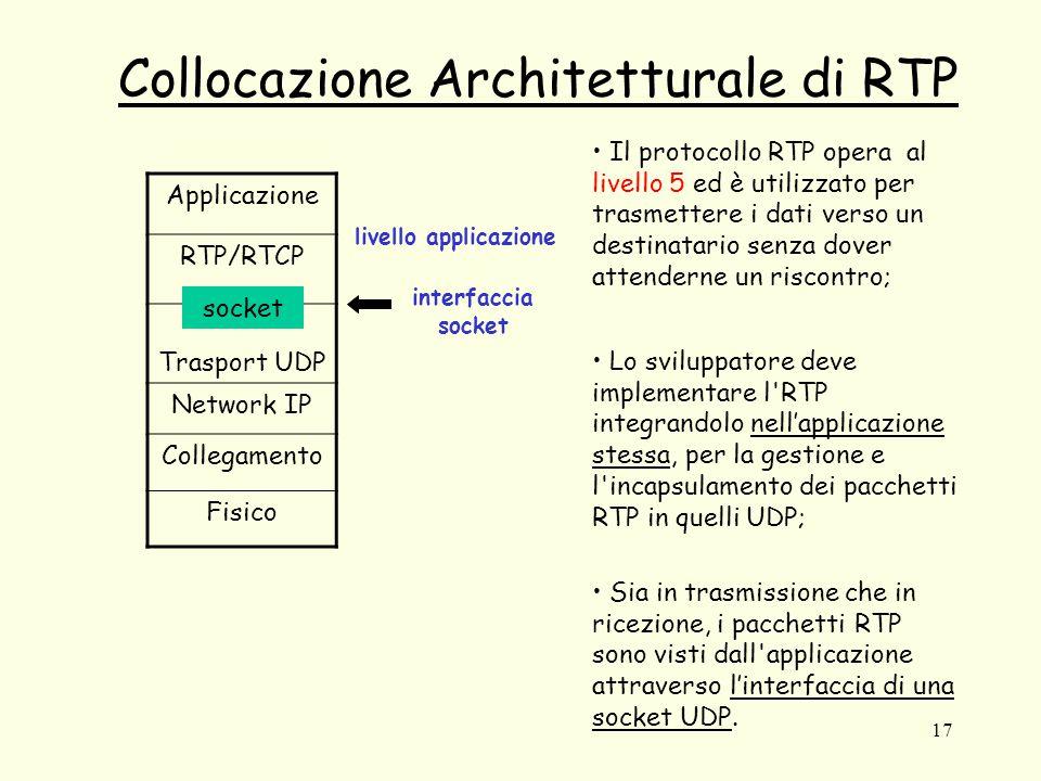17 Collocazione Architetturale di RTP Applicazione RTP/RTCP Trasport UDP Network IP Collegamento Fisico socket livello applicazione interfaccia socket Il protocollo RTP opera al livello 5 ed è utilizzato per trasmettere i dati verso un destinatario senza dover attenderne un riscontro; Lo sviluppatore deve implementare l RTP integrandolo nell'applicazione stessa, per la gestione e l incapsulamento dei pacchetti RTP in quelli UDP; Sia in trasmissione che in ricezione, i pacchetti RTP sono visti dall applicazione attraverso l'interfaccia di una socket UDP.