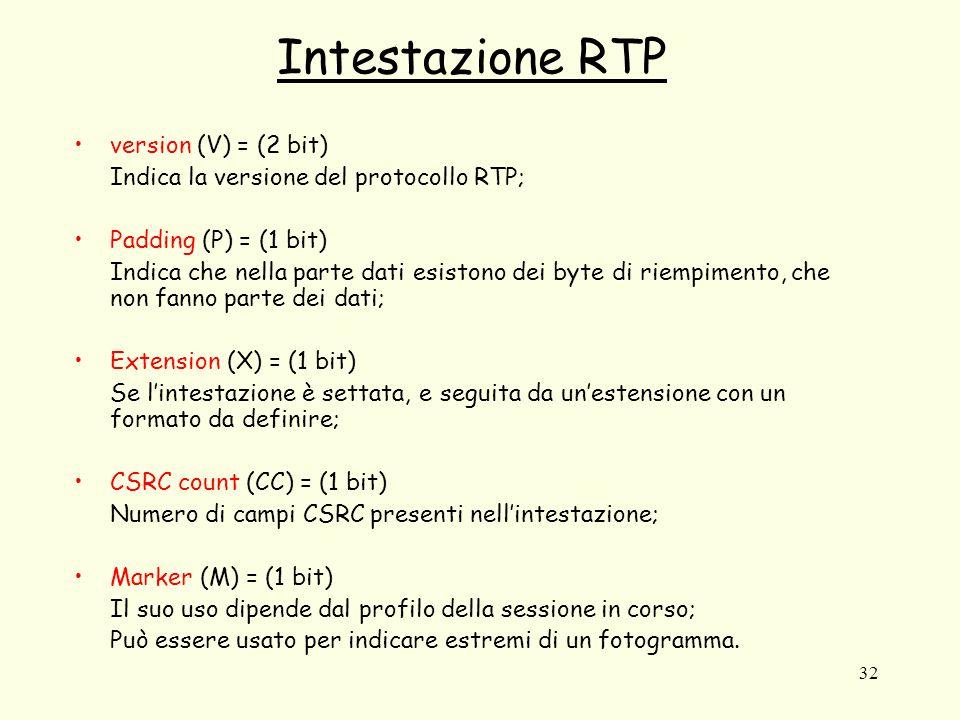 32 Intestazione RTP version (V) = (2 bit) Indica la versione del protocollo RTP; Padding (P) = (1 bit) Indica che nella parte dati esistono dei byte d
