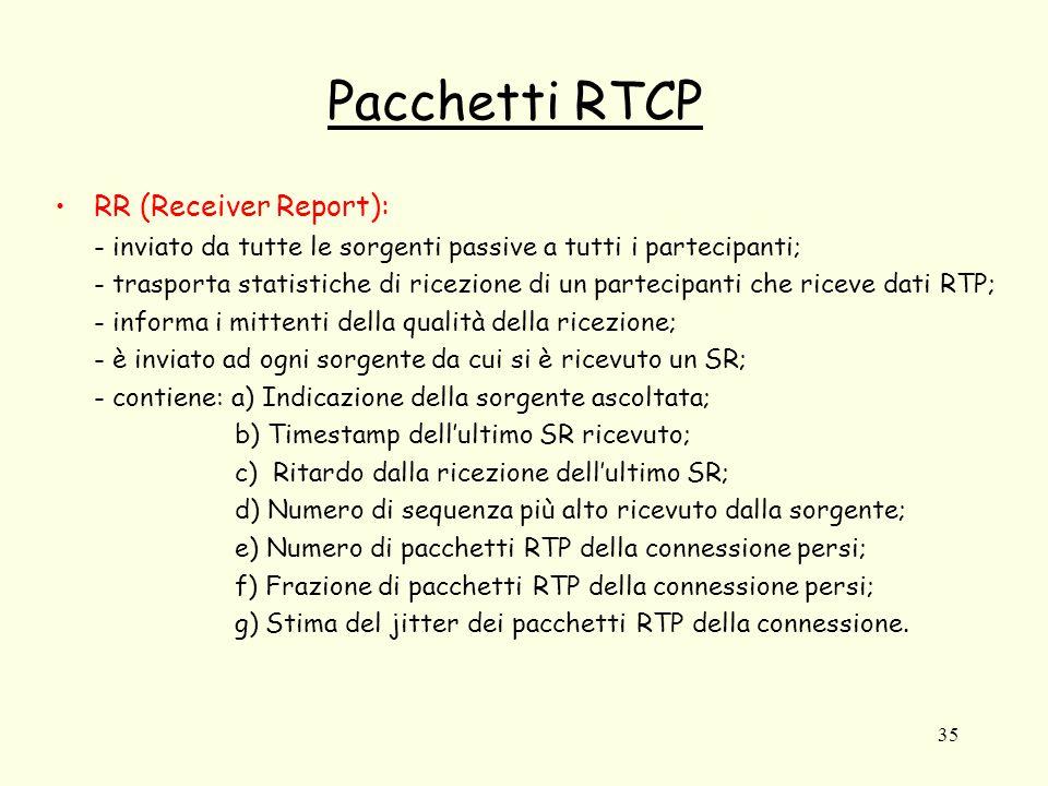 35 Pacchetti RTCP RR (Receiver Report): - inviato da tutte le sorgenti passive a tutti i partecipanti; - trasporta statistiche di ricezione di un part
