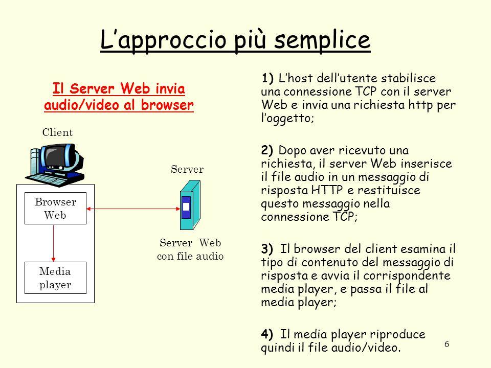 6 L'approccio più semplice 1) L'host dell'utente stabilisce una connessione TCP con il server Web e invia una richiesta http per l'oggetto; 2) Dopo av