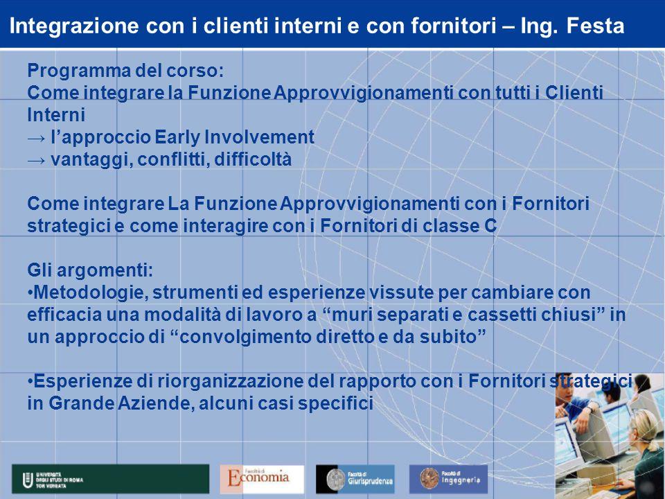 Integrazione con i clienti interni e con fornitori – Ing.