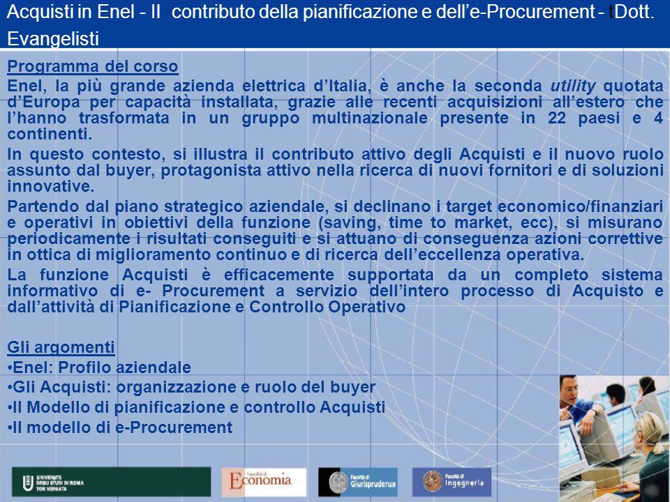 Acquisti in Enel - Il contributo della pianificazione e dell'e-Procurement - tDott.