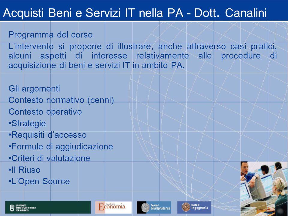 Acquisti Beni e Servizi IT nella PA - Dott.