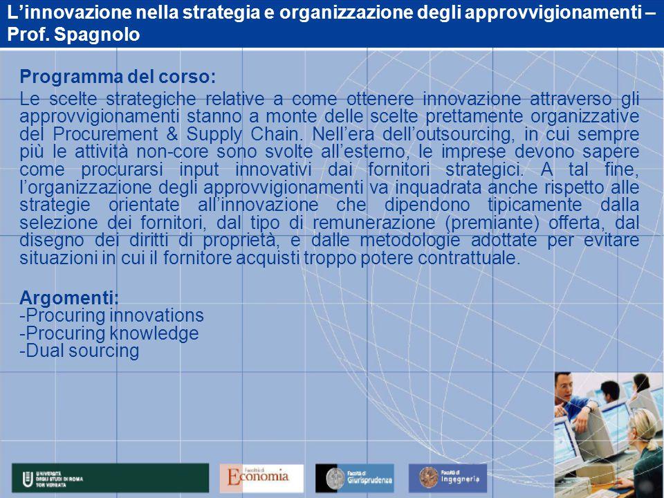 L'innovazione nella strategia e organizzazione degli approvvigionamenti – Prof.