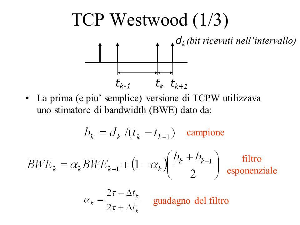 TCP Westwood (1/3) La prima (e piu' semplice) versione di TCPW utilizzava uno stimatore di bandwidth (BWE) dato da: t k-1 tktk d k (bit ricevuti nell'intervallo) campione filtro esponenziale guadagno del filtro t k+1