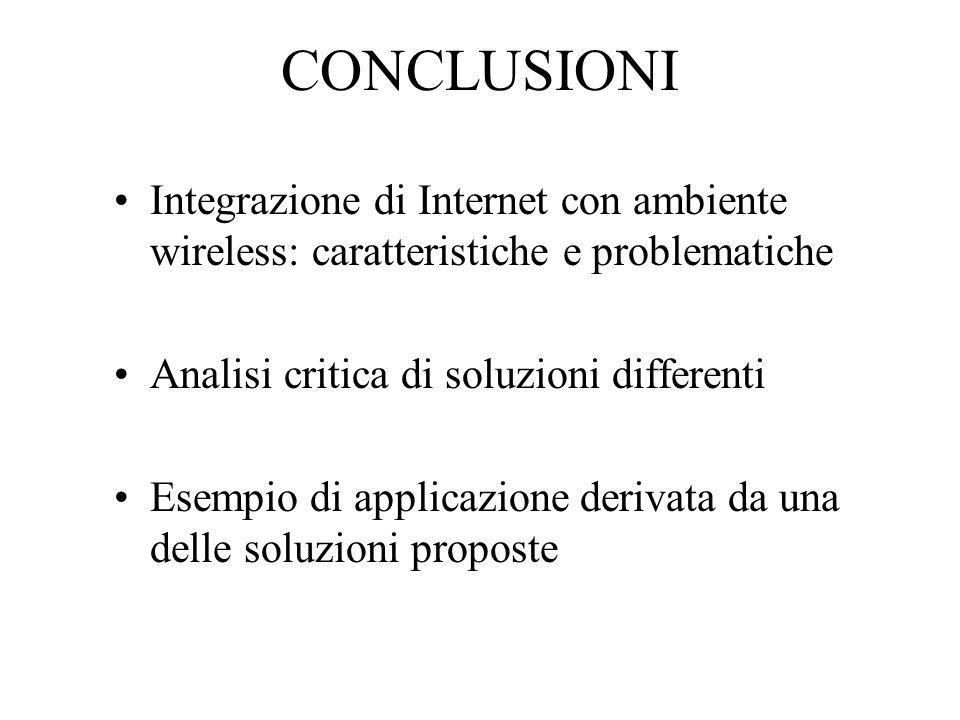 CONCLUSIONI Integrazione di Internet con ambiente wireless: caratteristiche e problematiche Analisi critica di soluzioni differenti Esempio di applicazione derivata da una delle soluzioni proposte