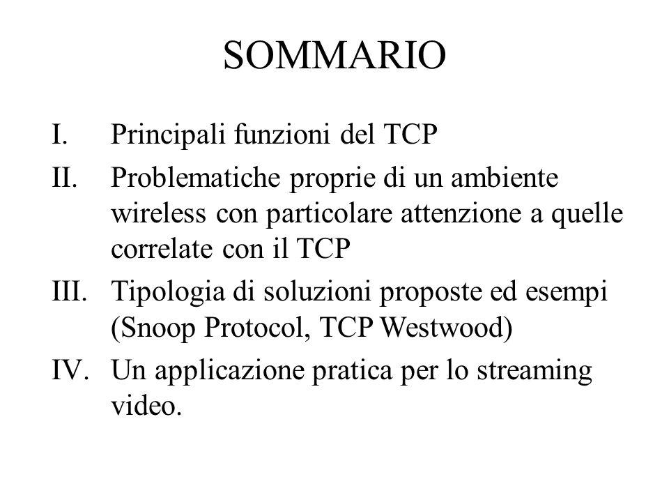 SOMMARIO I.Principali funzioni del TCP II.Problematiche proprie di un ambiente wireless con particolare attenzione a quelle correlate con il TCP III.Tipologia di soluzioni proposte ed esempi (Snoop Protocol, TCP Westwood) IV.Un applicazione pratica per lo streaming video.