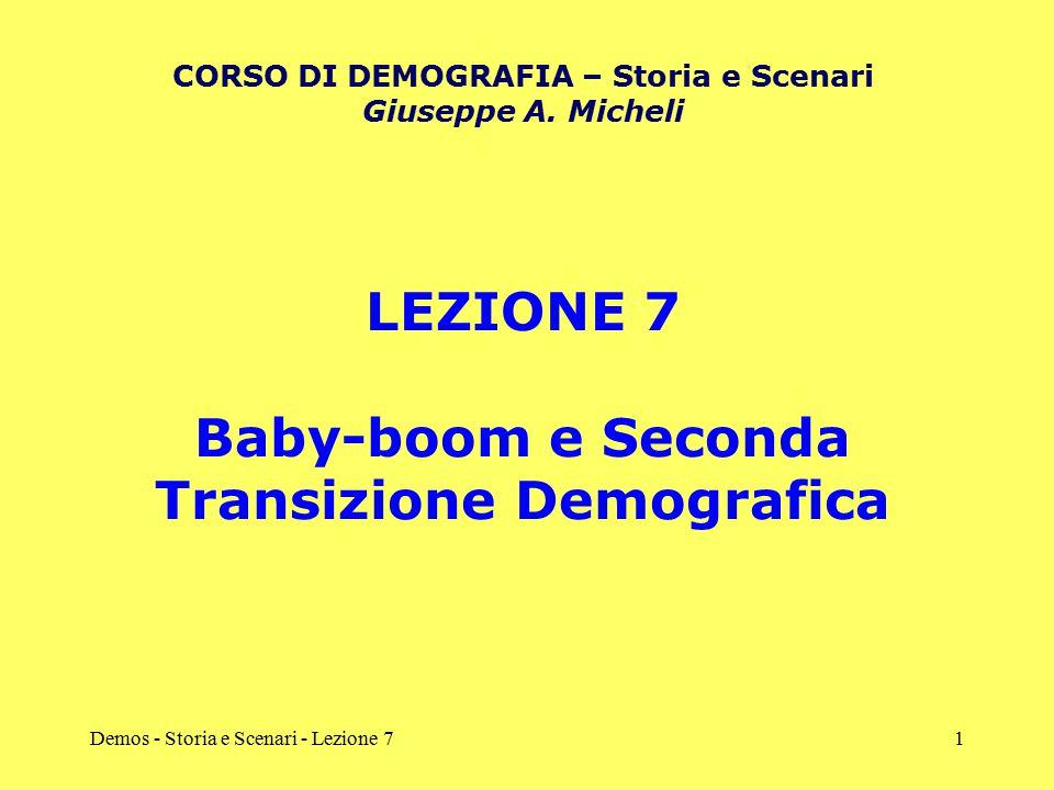 Demos - Storia e Scenari - Lezione 71 LEZIONE 7 Baby-boom e Seconda Transizione Demografica CORSO DI DEMOGRAFIA – Storia e Scenari Giuseppe A. Micheli