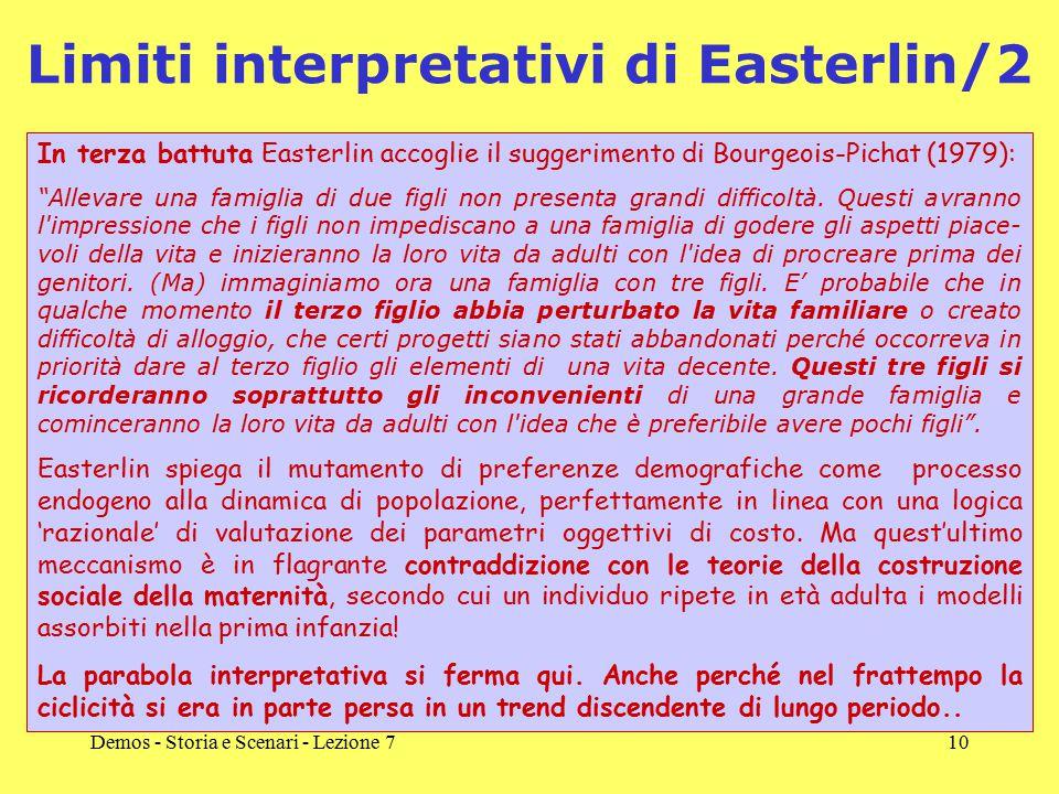 Demos - Storia e Scenari - Lezione 710 Limiti interpretativi di Easterlin/2 In terza battuta Easterlin accoglie il suggerimento di Bourgeois-Pichat (1979): Allevare una famiglia di due figli non presenta grandi difficoltà.
