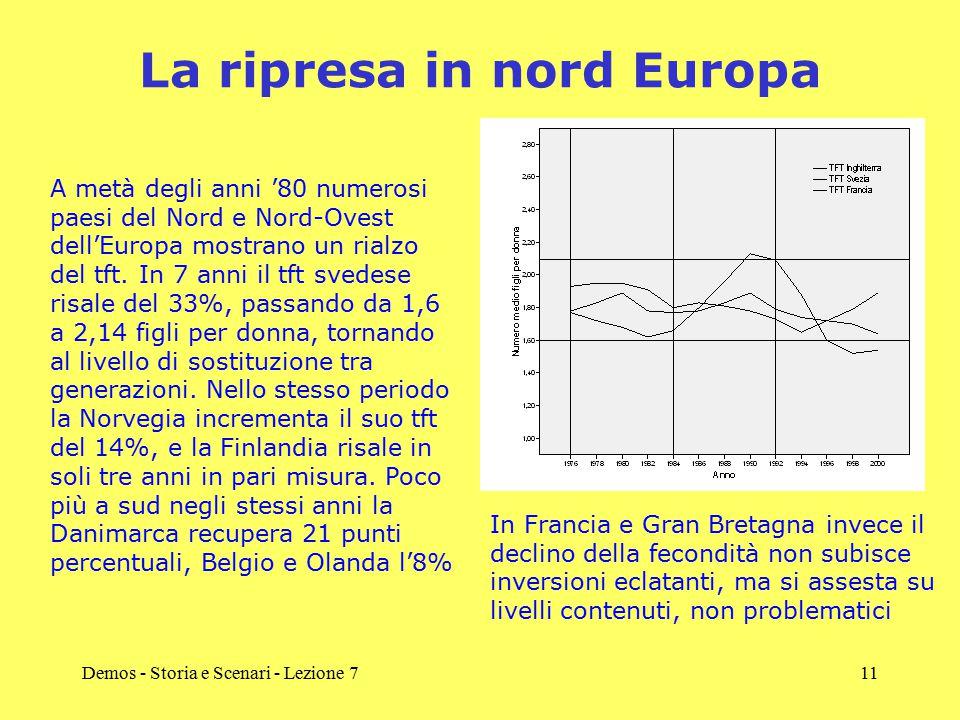 Demos - Storia e Scenari - Lezione 711 La ripresa in nord Europa A metà degli anni '80 numerosi paesi del Nord e Nord-Ovest dell'Europa mostrano un rialzo del tft.