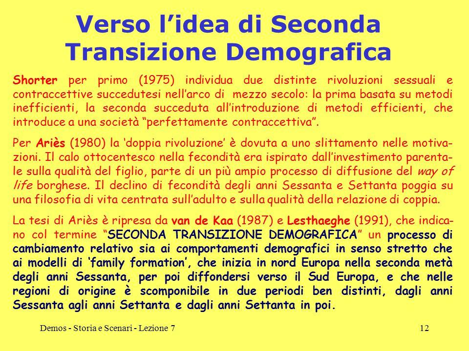 Demos - Storia e Scenari - Lezione 712 Verso l'idea di Seconda Transizione Demografica Shorter per primo (1975) individua due distinte rivoluzioni ses