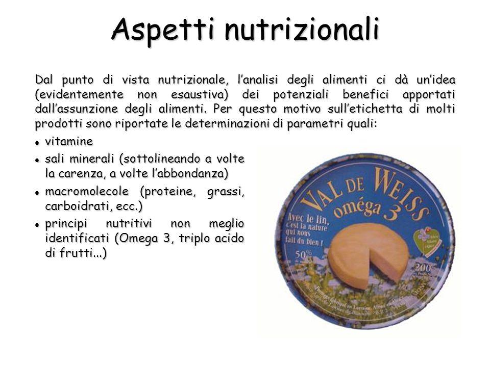 Aspetti nutrizionali Dal punto di vista nutrizionale, l'analisi degli alimenti ci dà un'idea (evidentemente non esaustiva) dei potenziali benefici apportati dall'assunzione degli alimenti.