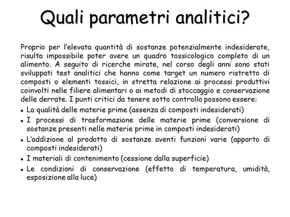 Quali parametri analitici.