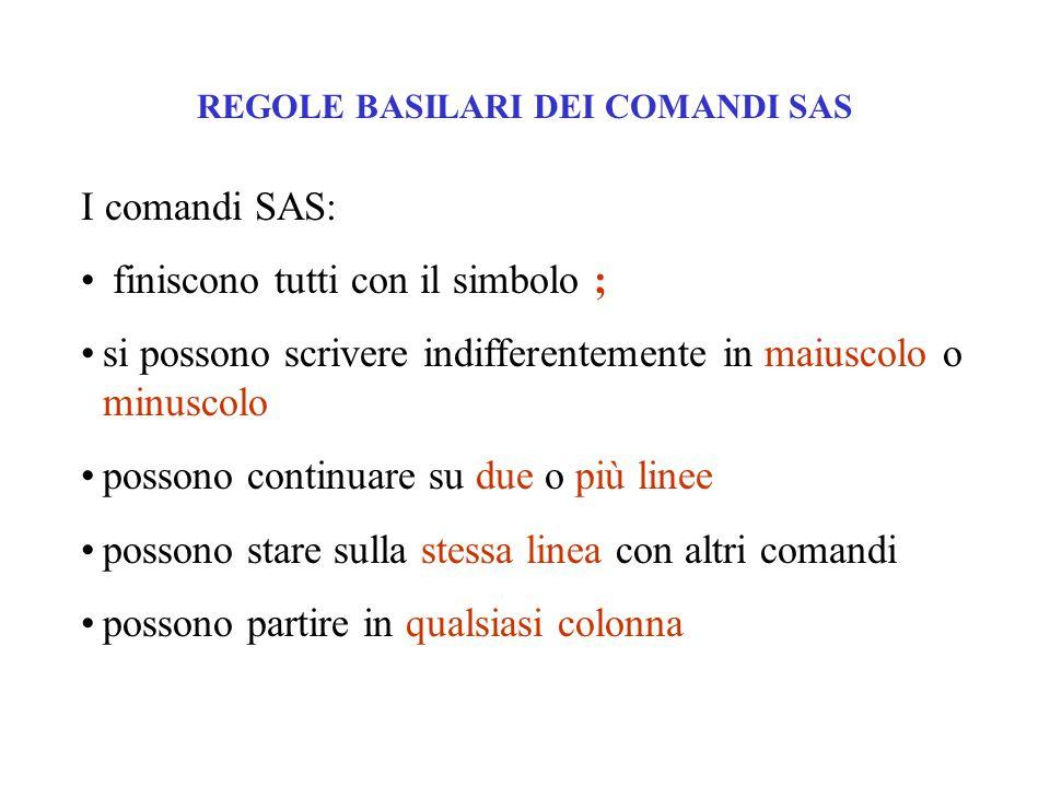 REGOLE BASILARI DEI COMANDI SAS I comandi SAS: finiscono tutti con il simbolo ; si possono scrivere indifferentemente in maiuscolo o minuscolo possono