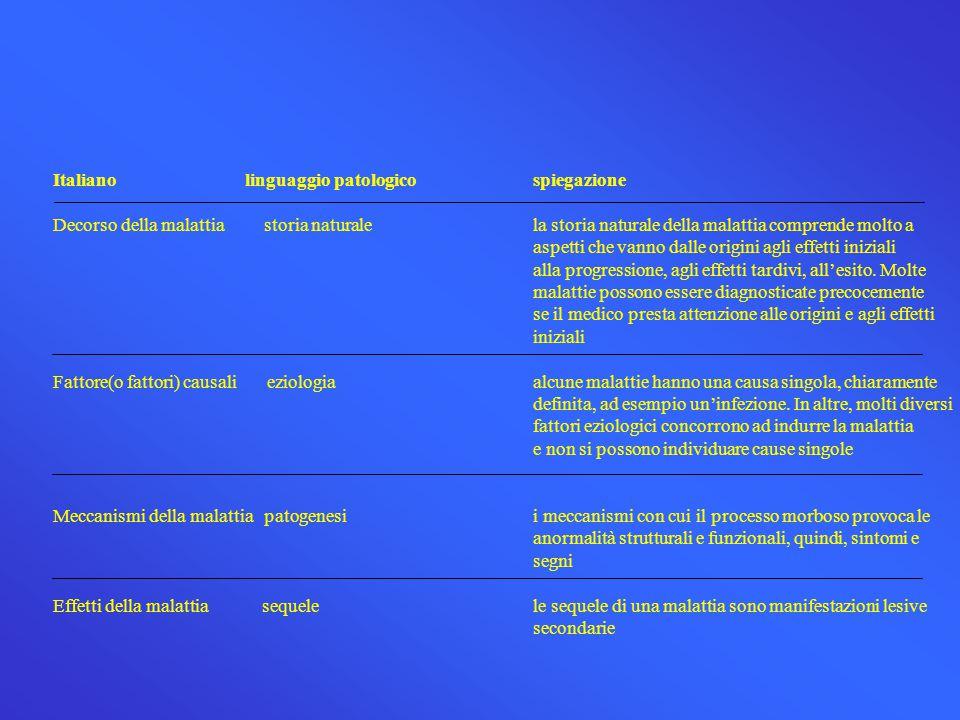 Italianolinguaggio patologicospiegazione Decorso della malattia storia naturalela storia naturale della malattia comprende molto a aspetti che vanno d