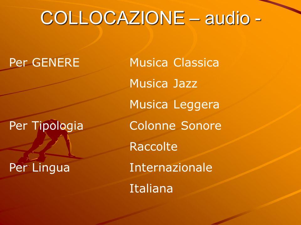 COLLOCAZIONE – audio - Per GENEREMusica Classica Musica Jazz Musica Leggera Per TipologiaColonne Sonore Raccolte Per LinguaInternazionale Italiana