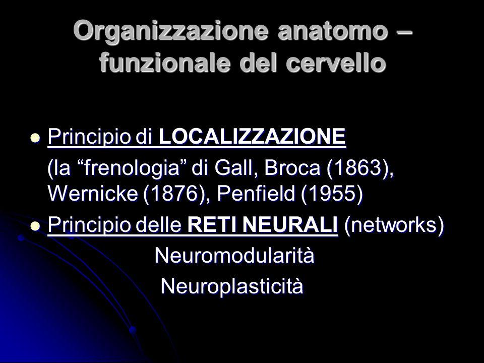 """Organizzazione anatomo – funzionale del cervello Principio di LOCALIZZAZIONE Principio di LOCALIZZAZIONE (la """"frenologia"""" di Gall, Broca (1863), Werni"""