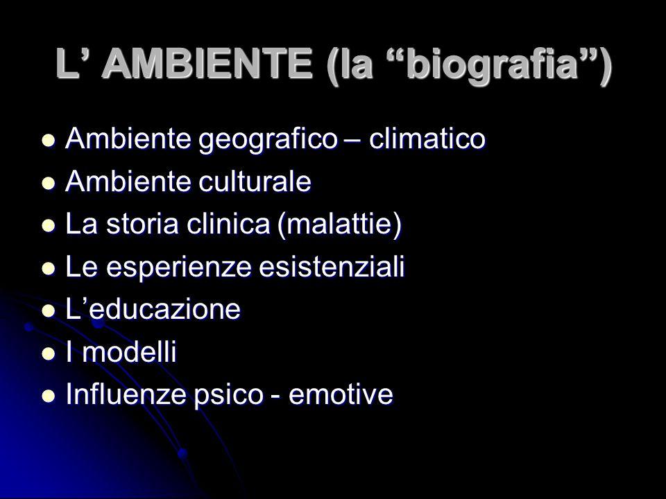 """L' AMBIENTE (la """"biografia"""") Ambiente geografico – climatico Ambiente geografico – climatico Ambiente culturale Ambiente culturale La storia clinica ("""