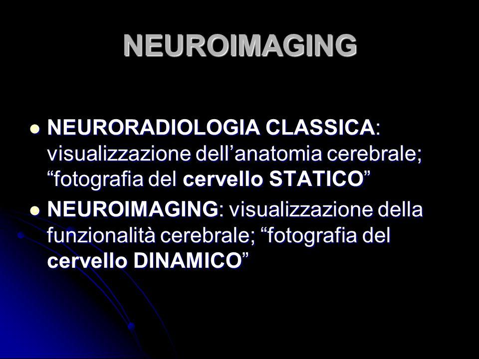 """NEUROIMAGING NEURORADIOLOGIA CLASSICA: visualizzazione dell'anatomia cerebrale; """"fotografia del cervello STATICO"""" NEURORADIOLOGIA CLASSICA: visualizza"""