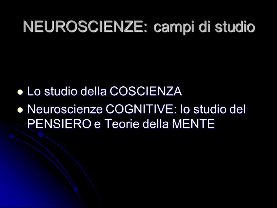 NEUROSCIENZE: campi di studio Lo studio della COSCIENZA Lo studio della COSCIENZA Neuroscienze COGNITIVE: lo studio del PENSIERO e Teorie della MENTE