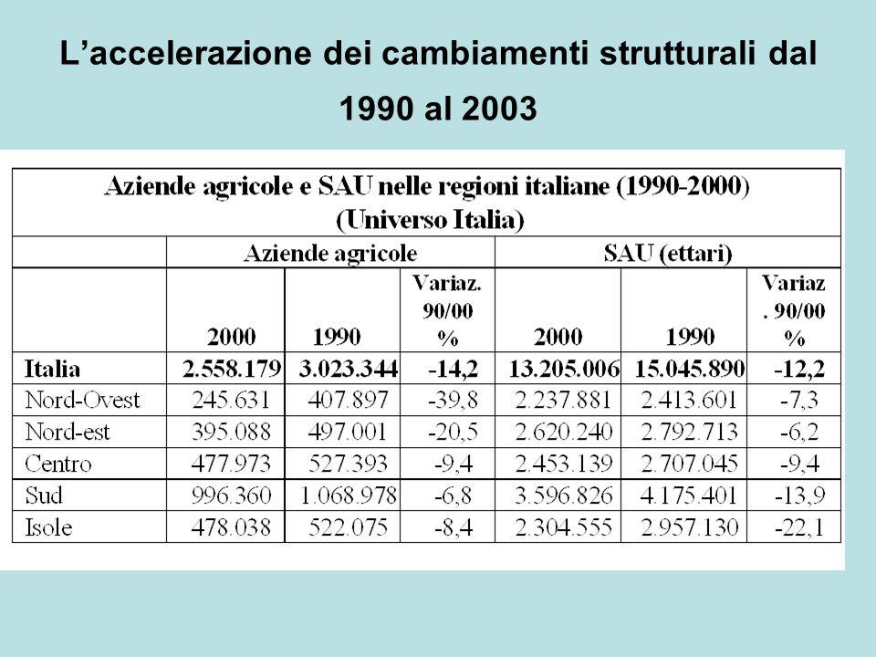 L'accelerazione dei cambiamenti strutturali dal 1990 al 2003