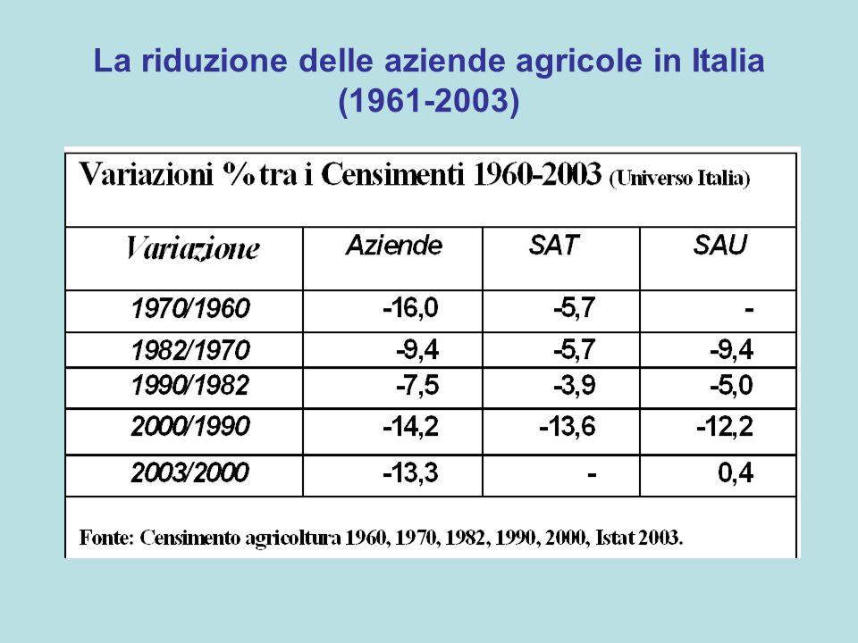 La riduzione si accelera nel decennio 1990- 2000 (-14%) –Una riduzione simile si era verificata solo dal 1961-1970 –La riduzione delle aziende si accompagna ad una forte riduzione della superficie (-12,2% della SAU)