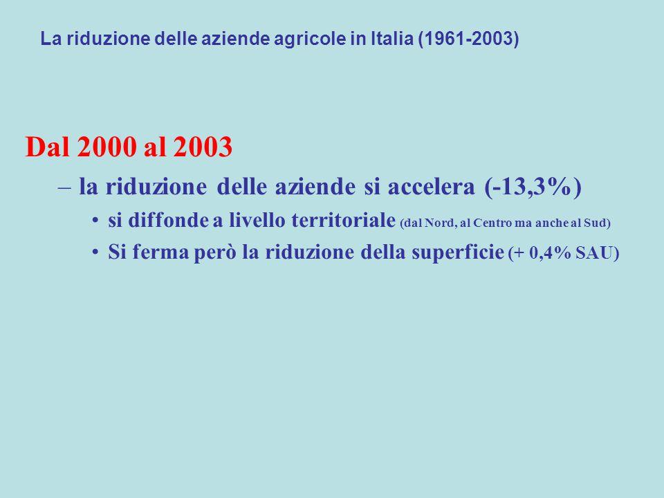 La riduzione delle aziende agricole in Italia (1961-2003) Dal 2000 al 2003 –la riduzione delle aziende si accelera (-13,3%) si diffonde a livello territoriale (dal Nord, al Centro ma anche al Sud) Si ferma però la riduzione della superficie (+ 0,4% SAU)