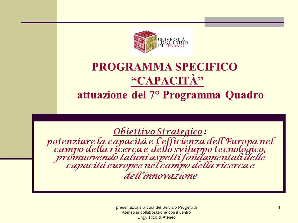 """presentazione a cura del Servizio Progetti di Ateneo in collaborazione con il Centro Linguistico di Ateneo 1 PROGRAMMA SPECIFICO """"CAPACITÀ"""" attuazione"""