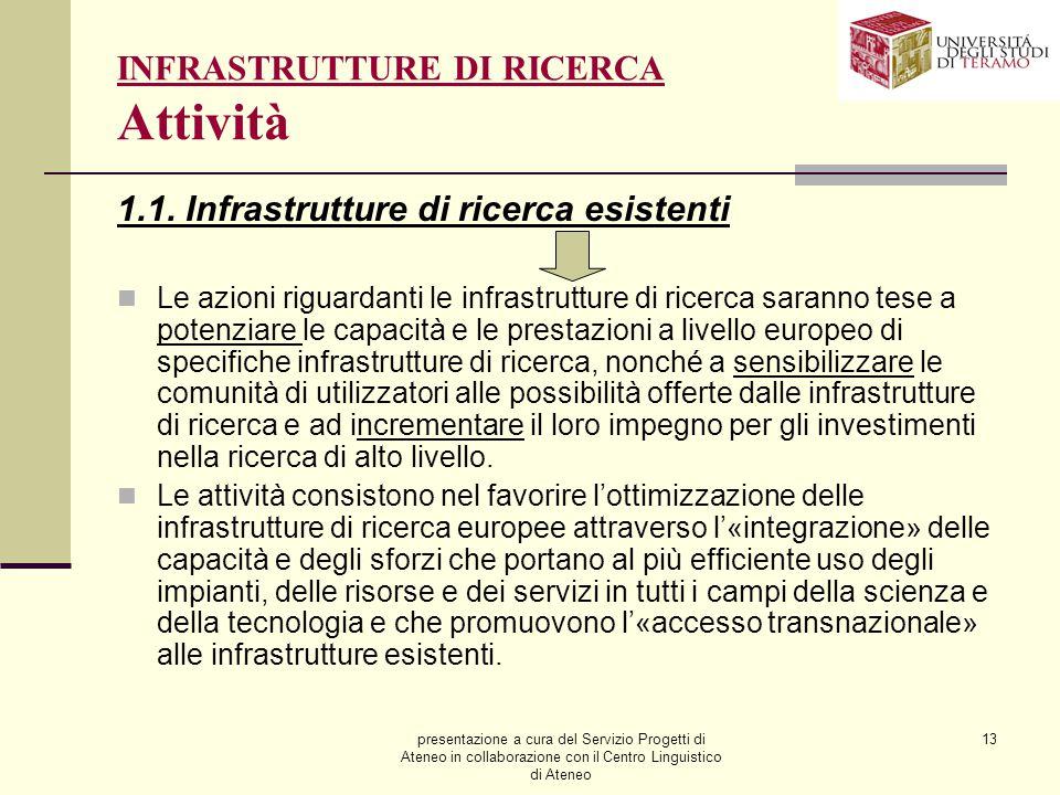 presentazione a cura del Servizio Progetti di Ateneo in collaborazione con il Centro Linguistico di Ateneo 13 INFRASTRUTTURE DI RICERCA Attività 1.1.