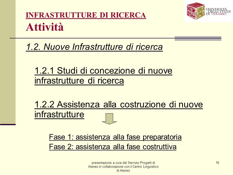 presentazione a cura del Servizio Progetti di Ateneo in collaborazione con il Centro Linguistico di Ateneo 16 INFRASTRUTTURE DI RICERCA Attività 1.2.
