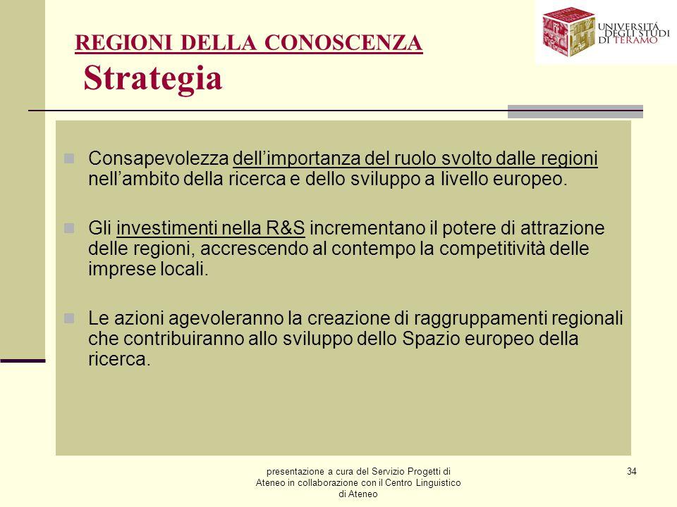 presentazione a cura del Servizio Progetti di Ateneo in collaborazione con il Centro Linguistico di Ateneo 34 REGIONI DELLA CONOSCENZA Strategia Consa