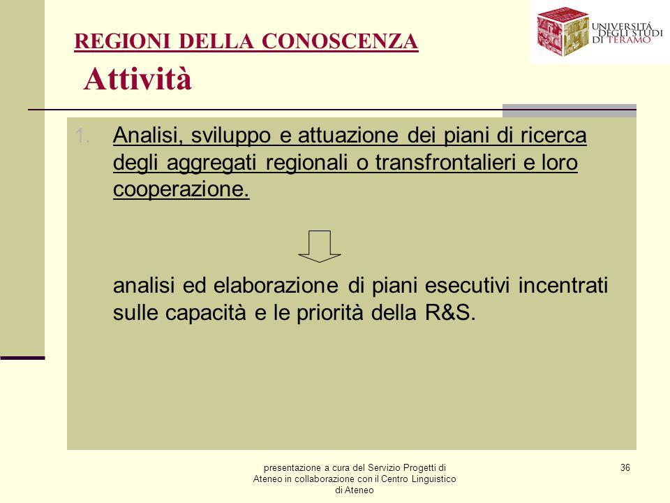 presentazione a cura del Servizio Progetti di Ateneo in collaborazione con il Centro Linguistico di Ateneo 36 REGIONI DELLA CONOSCENZA Attività 1. Ana