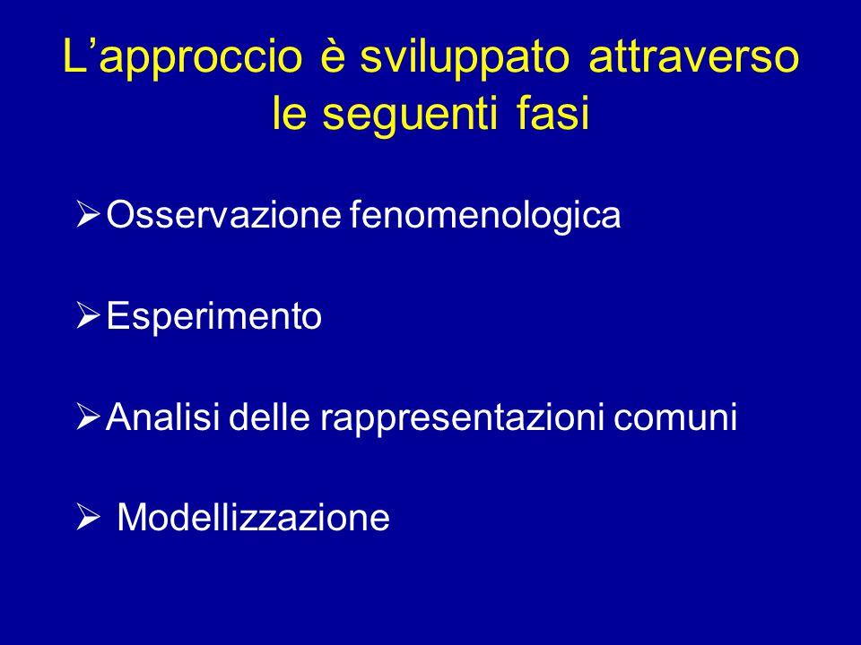 L'approccio è sviluppato attraverso le seguenti fasi  Osservazione fenomenologica  Esperimento  Analisi delle rappresentazioni comuni  Modellizzazione