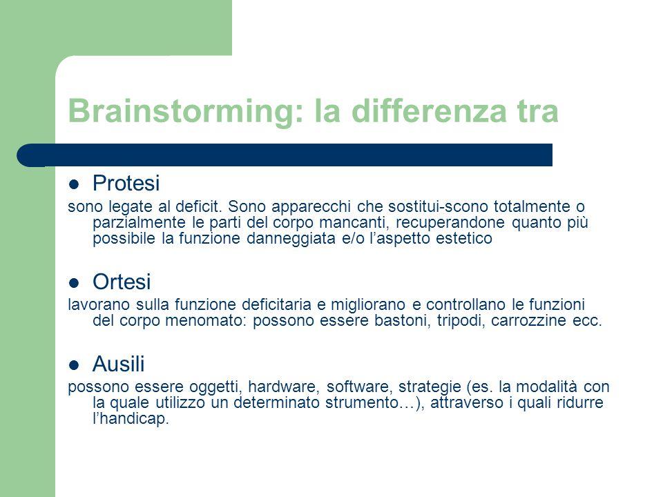 Brainstorming: la differenza tra Protesi sono legate al deficit. Sono apparecchi che sostitui-scono totalmente o parzialmente le parti del corpo manca