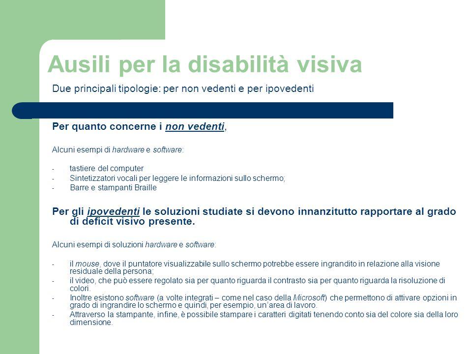 Ausili per la disabilità visiva Due principali tipologie: per non vedenti e per ipovedenti Per quanto concerne i non vedenti, Alcuni esempi di hardwar