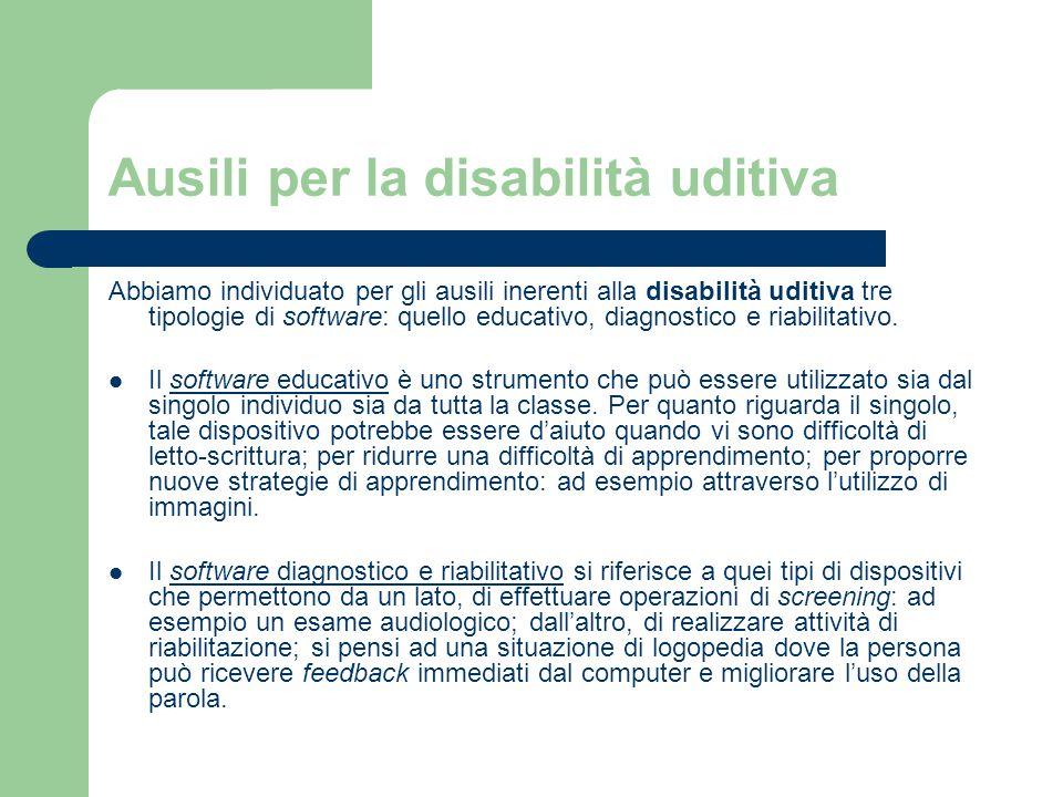 Ausili per la disabilità uditiva Abbiamo individuato per gli ausili inerenti alla disabilità uditiva tre tipologie di software: quello educativo, diagnostico e riabilitativo.