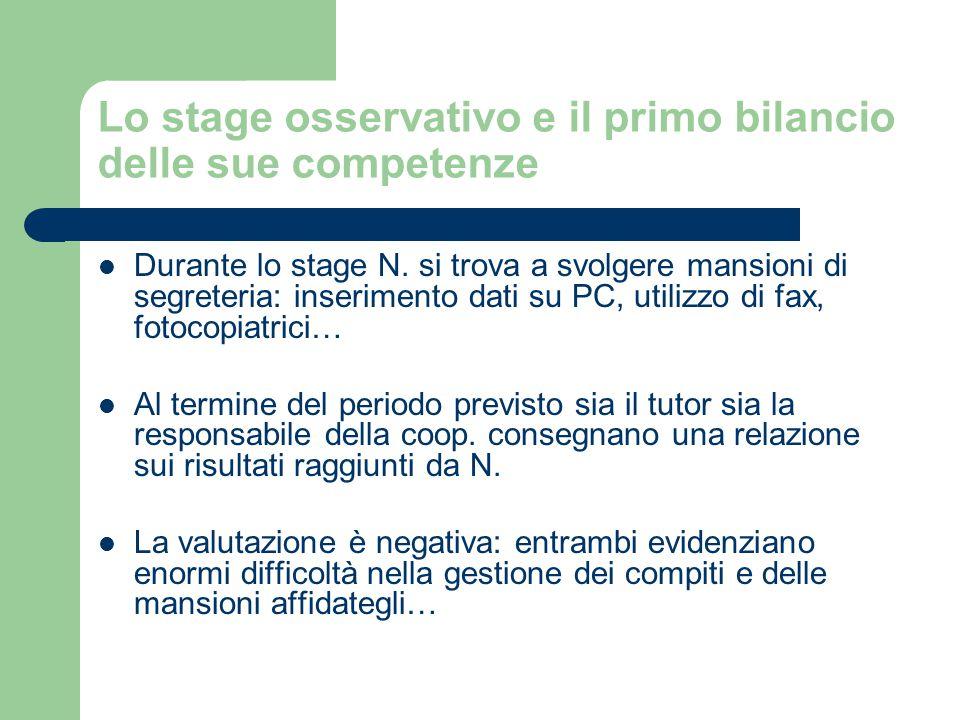 Lo stage osservativo e il primo bilancio delle sue competenze Durante lo stage N.