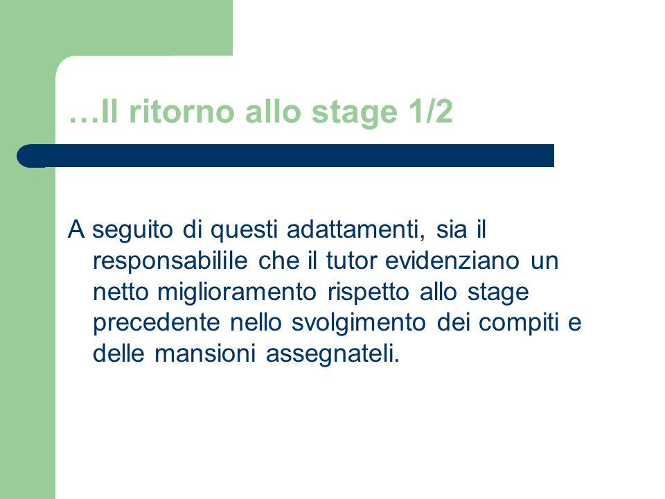 …Il ritorno allo stage 1/2 A seguito di questi adattamenti, sia il responsabilile che il tutor evidenziano un netto miglioramento rispetto allo stage