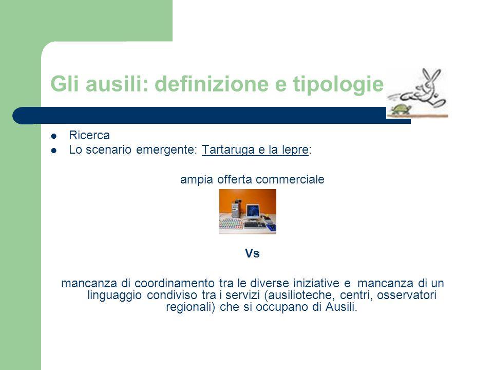 Gli ausili: definizione e tipologie Ricerca Lo scenario emergente: Tartaruga e la lepre: ampia offerta commerciale Vs mancanza di coordinamento tra le