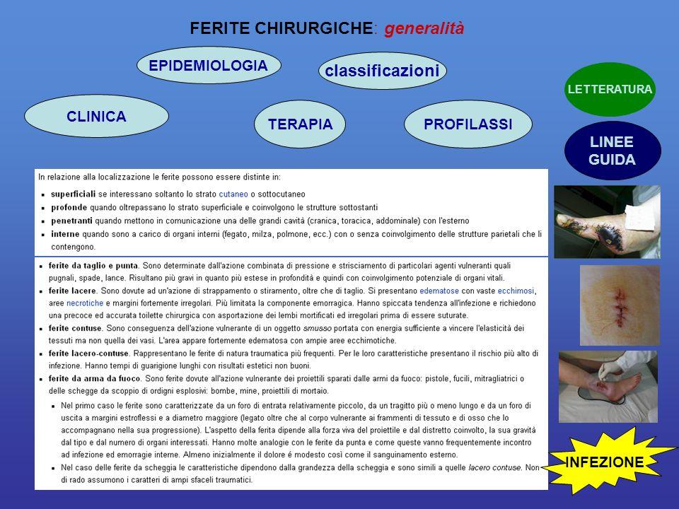 FERITE CHIRURGICHE: generalità classificazioni CLINICA TERAPIA EPIDEMIOLOGIA PROFILASSI LINEE GUIDA LETTERATURA INFEZIONE