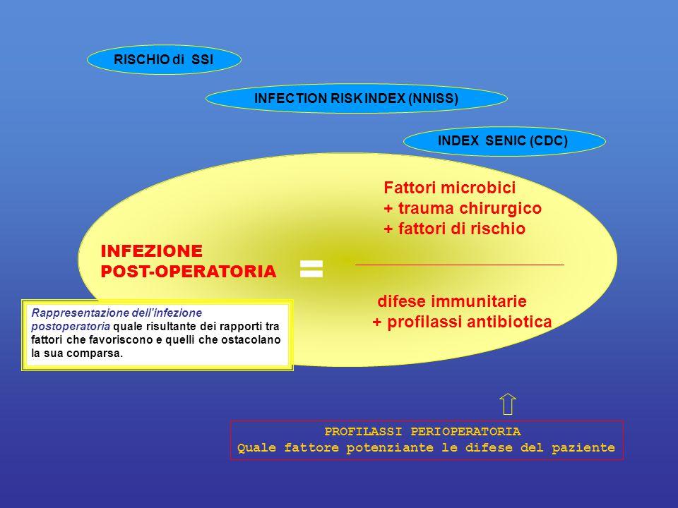 Fattori microbici + trauma chirurgico + fattori di rischio difese immunitarie + profilassi antibiotica INFEZIONE POST-OPERATORIA = PROFILASSI PERIOPER